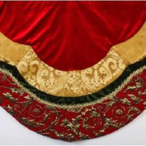 60 Red and Gold Velvet Christmas Tree Skirt with Chenille Jacquard