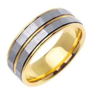 14K Gold Two Tone Handmade Wedding Ring (7.5mm) Jewelry