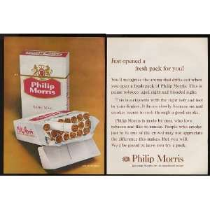 1960 Philip Morris Cigarette Open Pack 2 Page Print Ad (10095)