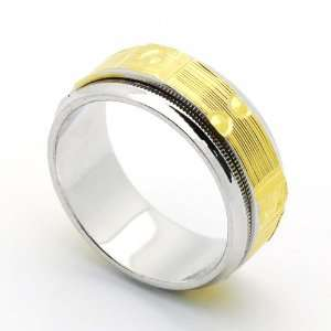 9MM Sterling Silver Wedding Band For Men & Women Gold Plated Two Tone