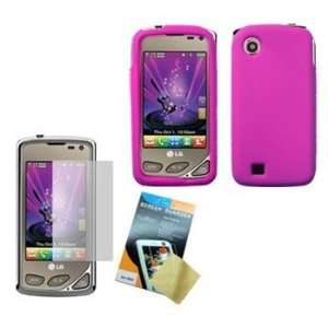Hot Pink Silicone Case / Skin / Cover & LCD Screen Guard