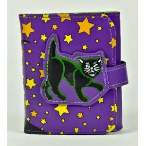Black Cat Tri Fold Womens Wallet Haunted House Halloween