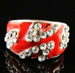 Red Enamel Shiny diamante Noble Fancy Ring Size 8 ka8687