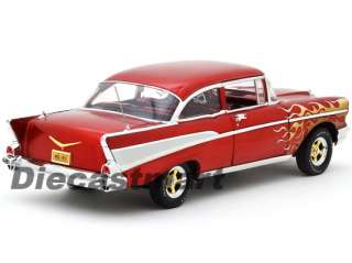61 118 1957 CHEVY BEL AIR SEDAN NEW DIECAST MODEL CAR RED WITH FLAME