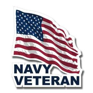 US Navy Veteran w/ American Flag Decal Sticker 3.8