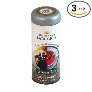 The Tea Nation Earl Grey Gunpowder Green Tea in Tall Tin   100g, 3.52