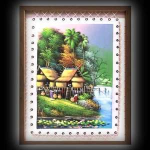 Hand Painted Village Scene