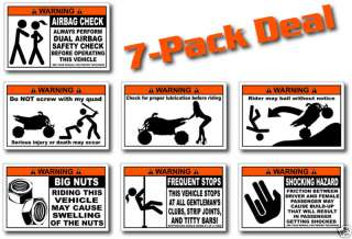 Pack Sport ATV Warning Stickers Decal Quad Racer Z400