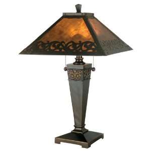 TT80171 Valentino Table Lamp, Antique Golden Sand and Mica Shade