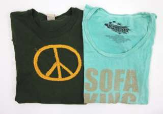 you are bidding on a lot 2 lucky brand heart breaker green shirts in a