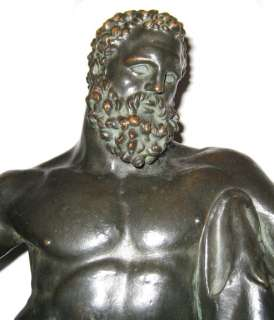 Antique Bronze Hercules Figurine Sculpture Statue