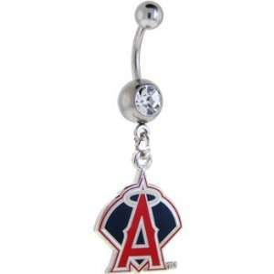 Major League Baseball Logo Silver Gem Belly Ring   Los Angeles Angels