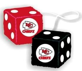 CAR MIRROR FUZZY DICE KANSAS CITY CHIEFS NFL FOOTBALL