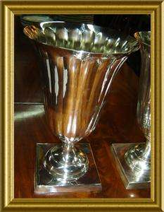 ANTIQUE ART DECO LARG SILVER SERPERTINE PAIR VASES RARE