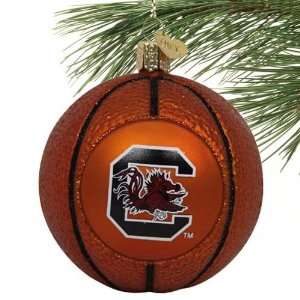 NCAA South Carolina Gamecocks Glass Basketball Ornament