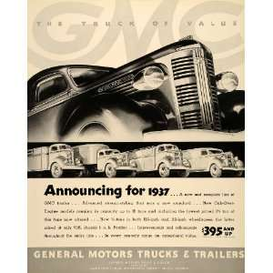 1937 Ad Pontiac GMC Trucks Cab Over Engine Models   Original Print Ad