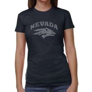 Nevada Wolf Pack Ladies Distressed Primary Juniors Tri Blend T Shirt