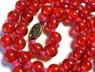 27 LONG VINTAGE ART DECO JEWELRY RED GLASS BEAD NECKLACE ORNATE