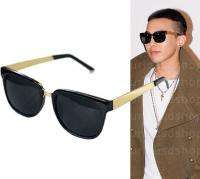 New Modern Black Wayfarer Sunglasses Gold Metal Arms BigBang G Dragon