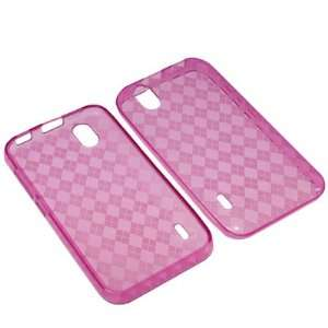 Sleeve Gel Cover Skin Case for Sprint LG Marquee LS855  Pink Checker