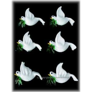 Set 6 White Peace Doves Fridge Refrigerator Magnets