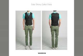 Bros Mens Slim Skinny Cotton Pants Jeans Green Color