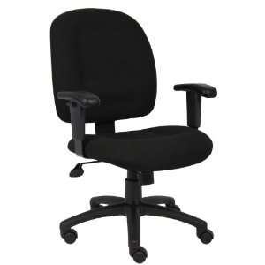 Boss Black Fabric Task Chair W/ Adjustable Arms Office