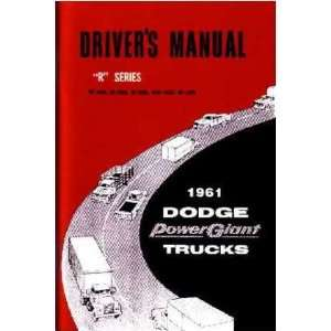 1961 DODGE TRUCK R Series Owners Manual User Guide