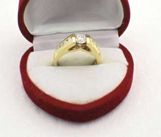 LOVESTORY 14k Yellow Gold ROUND DIAMOND ENGAGEMENT RING TENSION SET 0