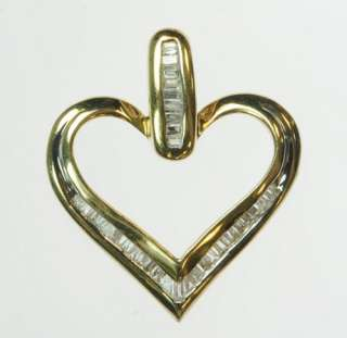 SOLID YELLOW GOLD DIAMOND HEART BAGUETTE PENDANT ESTATE J184135