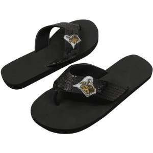 NCAA Purdue Boilermakers Ladies Black Sequin Strap Flip Flops (9/10)