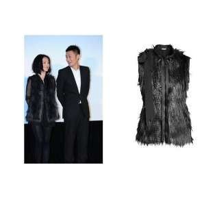 Fashion Women black faux fur vest coat long waistcoat