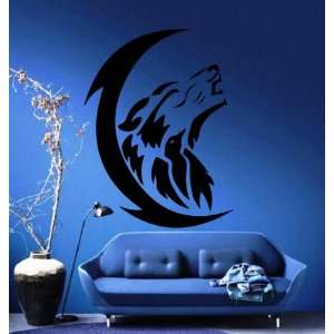 Wolfs Howl to the Moon Tribal Animal Design Wall Mural