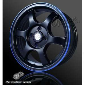 OPTION GROUP 6 SPOKE/4 LUG BLACK/BLUE LIP / OFFSET 35MM 15 X 6 INCHES