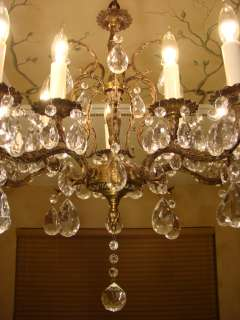 GREAT ANTIQUE BRASS BRONZE & CRYSTAL CHANDELIER 10 LIGHTS