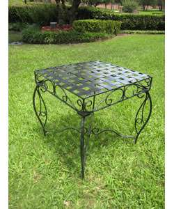 Antique Black Square Iron Side Table