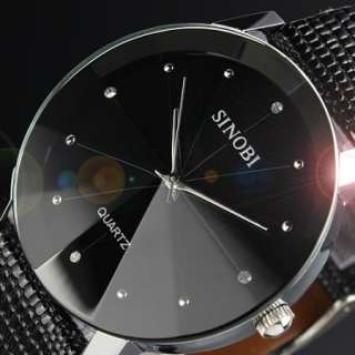 New Fashion Elegant *Crystal* Mens Black Leather Strap Analog Quartz