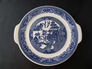 Royal China Blue Willow Ware Handled Cake Plate White Blue