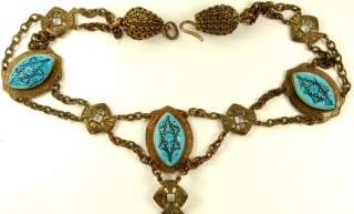VTG ART DECO EGYPTIAN REVIVAL CZECH GLASS FESTOON NECKLACE