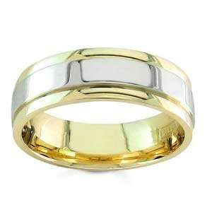 Mens 14k Two Toned Gold Handsome Comfort Fit Wedding Band