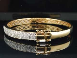 14K LADIES WOMENS YELLOW GOLD ROUND CUT BIG PAVE 3 CT DIAMOND BANGLE