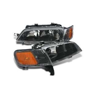 Euro Headlight Black W/ Corner 94 97 Honda Accord