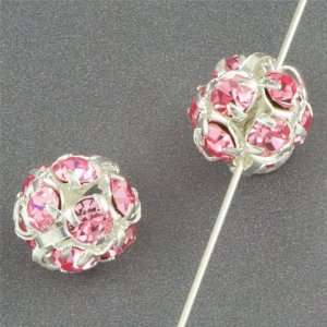 8mm Light Pink Rhinestone Crystal Beads Arts, Crafts