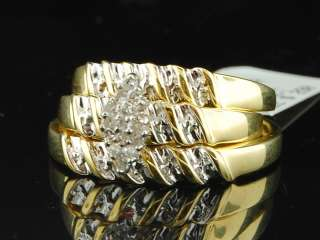 Mens Ladies Yellow Gold Finish Diamond Engagement Ring Wedding Band