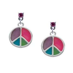 Silver Peace Sign   Hot Pink Swarovski Post Charm Earrings Jewelry
