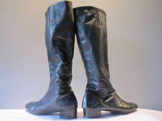 ViNTAGE 60 70S BLACK WiNTER LiNED TALL LEATHER DANCE BOOTS GOGO MOD