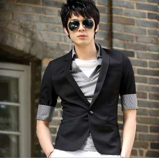 Half Sleeve One Button Mens Super Slim Fit Black Suit