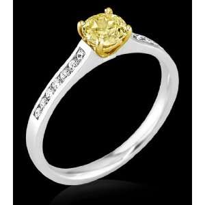 66 ct. yellow canary diamond engagement ring gold new