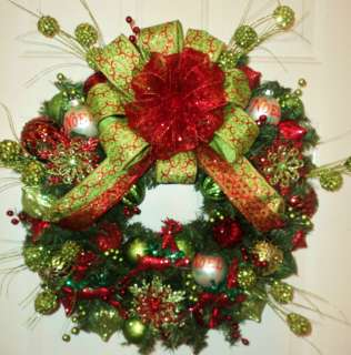 Wreath ~ Snowflakes ~ Lime Green and Red ~ Full of SPARKLE