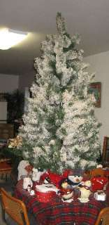 Flocked Christmas Tree 6 1/2 ft AMERICAN TREE & WREATH White & Green